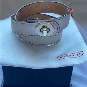 Coach turn lock double wrap white bracelet